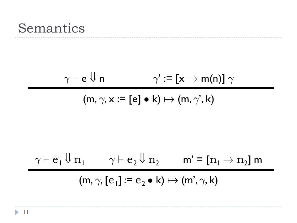 Semantics 11 ° ` e  n ° ' := [x .