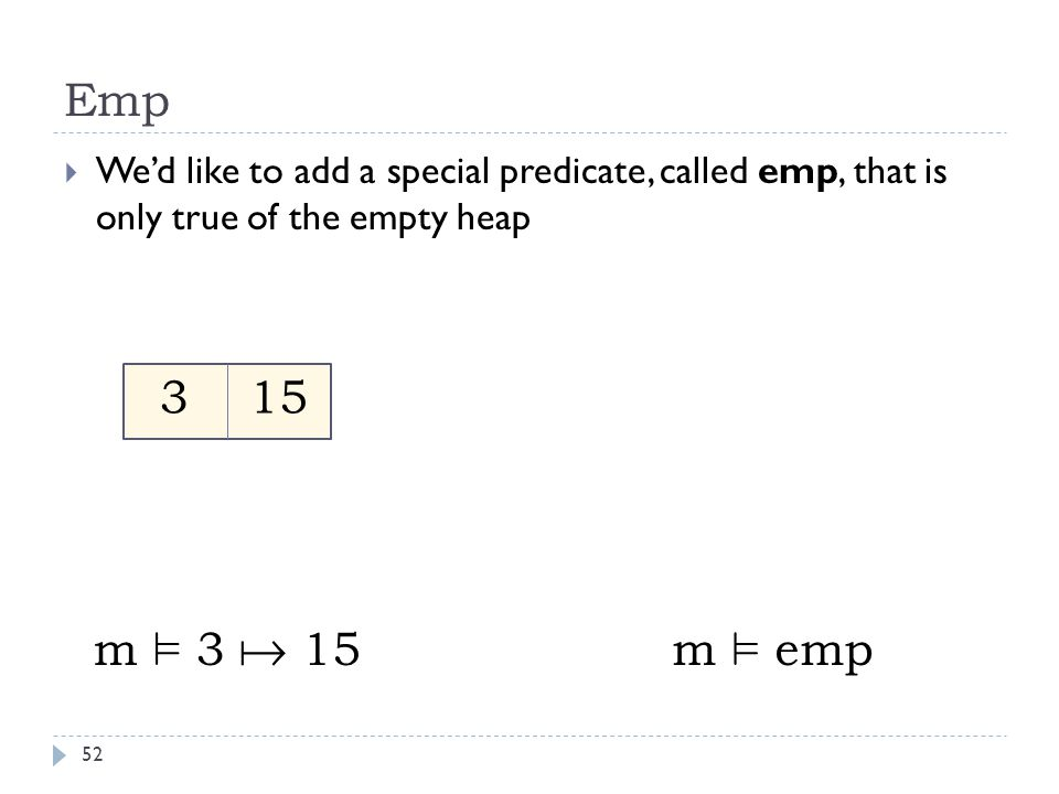 Emp 52  We'd like to add a special predicate, called emp, that is only true of the empty heap 3 15 m ² 3  15m ² emp