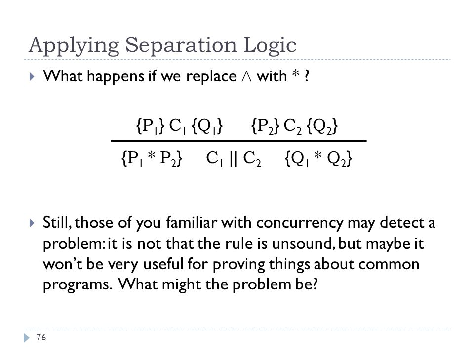 Applying Separation Logic 76  What happens if we replace Æ with * .