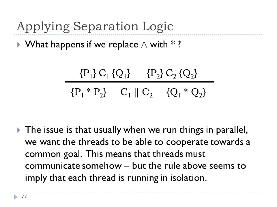 Applying Separation Logic 77  What happens if we replace Æ with * .