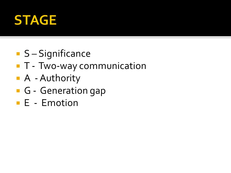  S – Significance  T - Two-way communication  A - Authority  G - Generation gap  E - Emotion