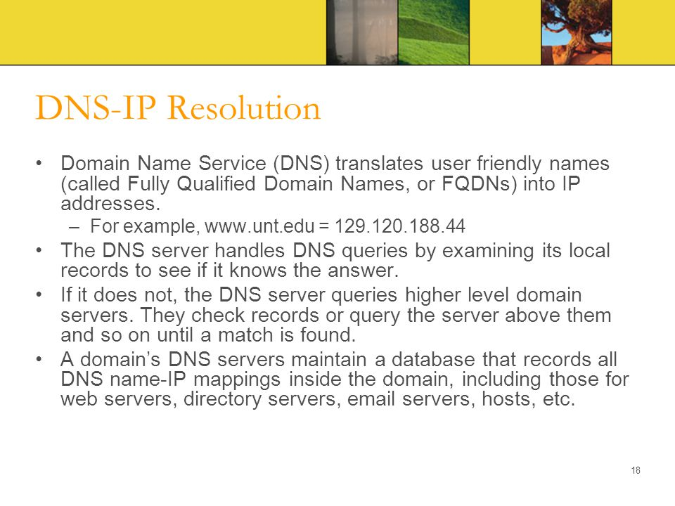 DNS-IP Resolution Domain Name Service (DNS) translates user friendly names (called Fully Qualified Domain Names, or FQDNs) into IP addresses. –For exa