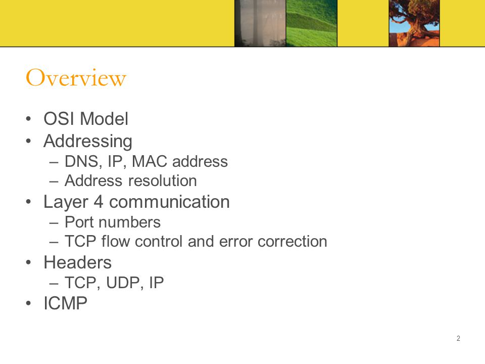 Overview OSI Model Addressing –DNS, IP, MAC address –Address resolution Layer 4 communication –Port numbers –TCP flow control and error correction Hea