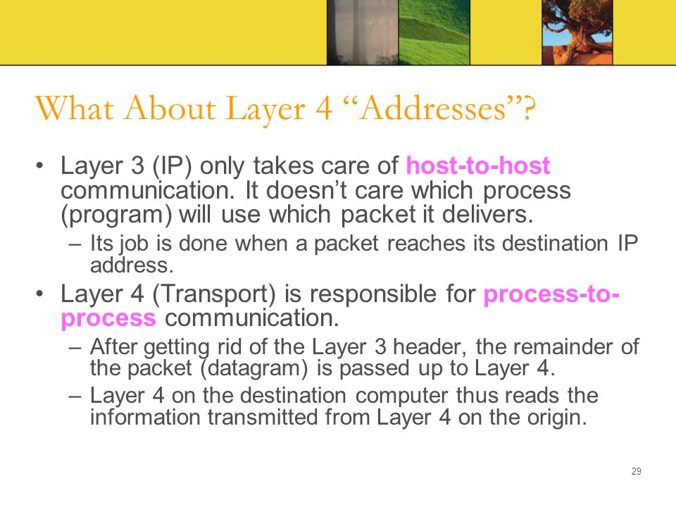 """What About Layer 4 """"Addresses""""? Layer 3 (IP) only takes care of host-to-host communication. It doesn't care which process (program) will use which pac"""