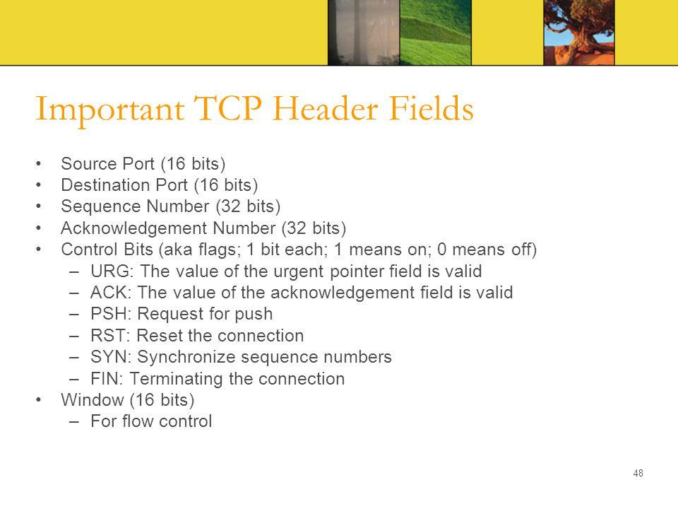 Important TCP Header Fields Source Port (16 bits) Destination Port (16 bits) Sequence Number (32 bits) Acknowledgement Number (32 bits) Control Bits (