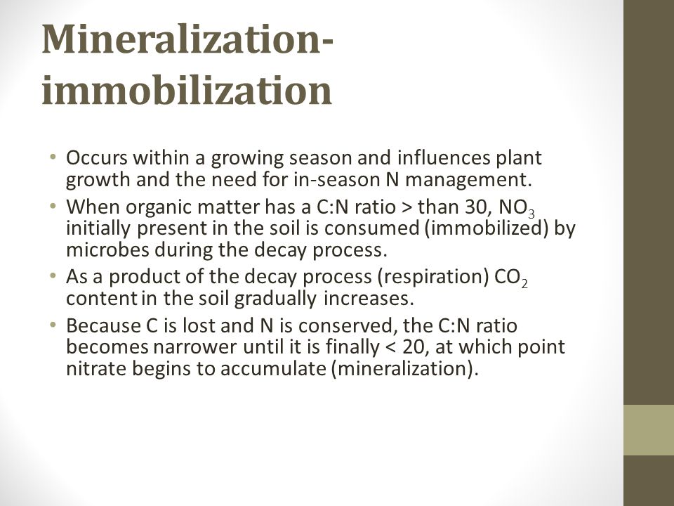 Mineralization- immobilization Occurs within a growing season and influences plant growth and the need for in-season N management.