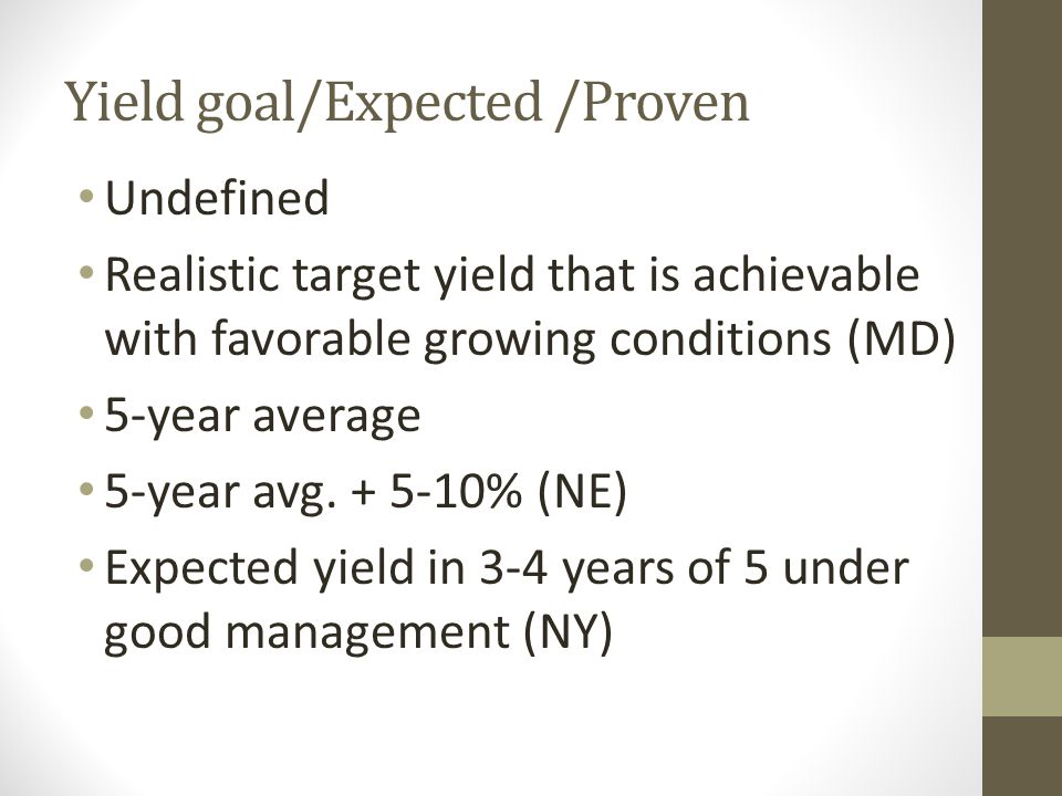 Yield goal/Expected /Proven Undefined Realistic target yield that is achievable with favorable growing conditions (MD) 5-year average 5-year avg. + 5-