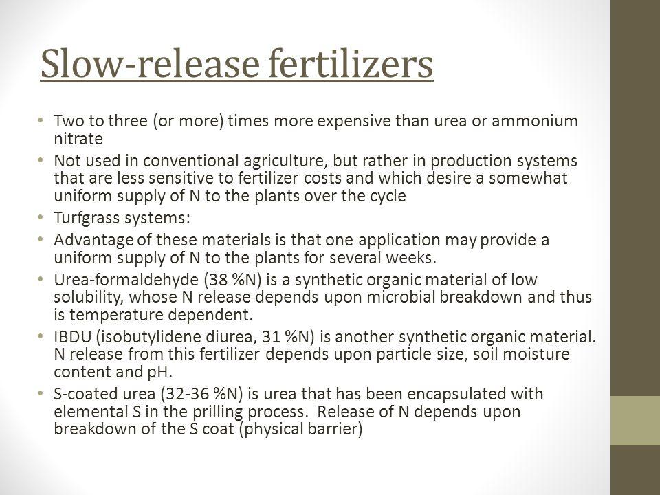 Slow-release fertilizers Two to three (or more) times more expensive than urea or ammonium nitrate Not used in conventional agriculture, but rather in production systems that are less sensitive to fertilizer costs and which desire a somewhat uniform supply of N to the plants over the cycle Turfgrass systems: Advantage of these materials is that one application may provide a uniform supply of N to the plants for several weeks.