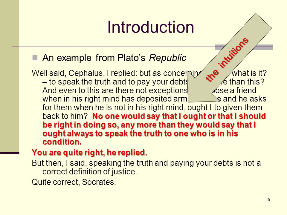 10 Introduction An example from Plato's Republic No one would say that I ought or that I should be right in doing so, any more than they would say that I ought always to speak the truth to one who is in his condition.