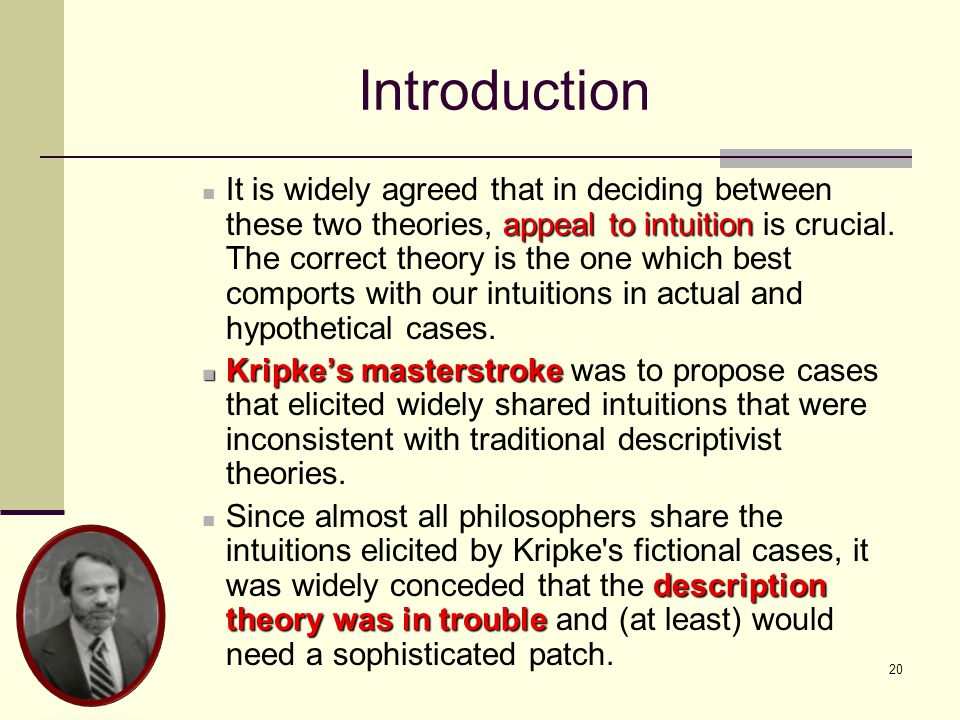 20 Introduction appeal to intuition It is widely agreed that in deciding between these two theories, appeal to intuition is crucial.
