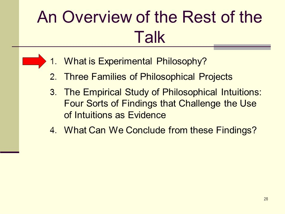 28 An Overview of the Rest of the Talk 1. What is Experimental Philosophy.