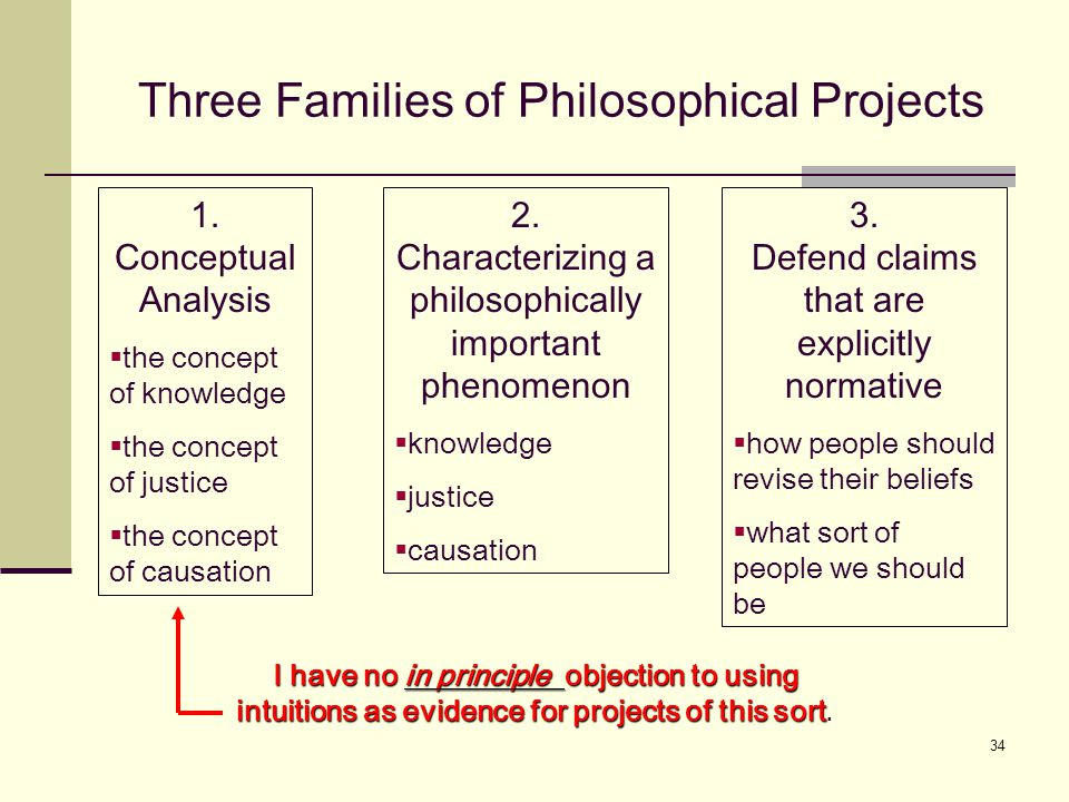 34 Three Families of Philosophical Projects 1.
