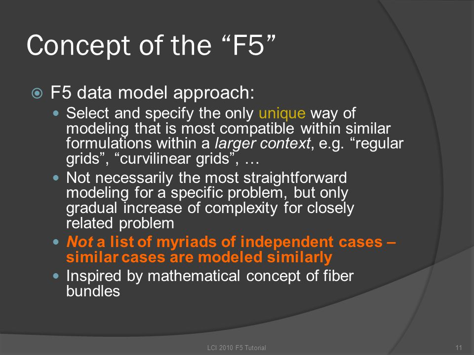 Concept of the F5  F5 data model approach: Select and specify the only unique way of modeling that is most compatible within similar formulations within a larger context, e.g.