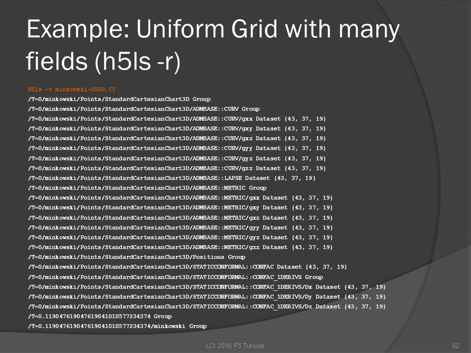 Example: Uniform Grid with many fields (h5ls -r) H5ls -r minkowski-0000.f5 /T=0/minkowski/Points/StandardCartesianChart3D Group /T=0/minkowski/Points/StandardCartesianChart3D/ADMBASE::CURV Group /T=0/minkowski/Points/StandardCartesianChart3D/ADMBASE::CURV/gxx Dataset {43, 37, 19} /T=0/minkowski/Points/StandardCartesianChart3D/ADMBASE::CURV/gxy Dataset {43, 37, 19} /T=0/minkowski/Points/StandardCartesianChart3D/ADMBASE::CURV/gxz Dataset {43, 37, 19} /T=0/minkowski/Points/StandardCartesianChart3D/ADMBASE::CURV/gyy Dataset {43, 37, 19} /T=0/minkowski/Points/StandardCartesianChart3D/ADMBASE::CURV/gyz Dataset {43, 37, 19} /T=0/minkowski/Points/StandardCartesianChart3D/ADMBASE::CURV/gzz Dataset {43, 37, 19} /T=0/minkowski/Points/StandardCartesianChart3D/ADMBASE::LAPSE Dataset {43, 37, 19} /T=0/minkowski/Points/StandardCartesianChart3D/ADMBASE::METRIC Group /T=0/minkowski/Points/StandardCartesianChart3D/ADMBASE::METRIC/gxx Dataset {43, 37, 19} /T=0/minkowski/Points/StandardCartesianChart3D/ADMBASE::METRIC/gxy Dataset {43, 37, 19} /T=0/minkowski/Points/StandardCartesianChart3D/ADMBASE::METRIC/gxz Dataset {43, 37, 19} /T=0/minkowski/Points/StandardCartesianChart3D/ADMBASE::METRIC/gyy Dataset {43, 37, 19} /T=0/minkowski/Points/StandardCartesianChart3D/ADMBASE::METRIC/gyz Dataset {43, 37, 19} /T=0/minkowski/Points/StandardCartesianChart3D/ADMBASE::METRIC/gzz Dataset {43, 37, 19} /T=0/minkowski/Points/StandardCartesianChart3D/Positions Group /T=0/minkowski/Points/StandardCartesianChart3D/STATICCONFORMAL::CONFAC Dataset {43, 37, 19} /T=0/minkowski/Points/StandardCartesianChart3D/STATICCONFORMAL::CONFAC_1DERIVS Group /T=0/minkowski/Points/StandardCartesianChart3D/STATICCONFORMAL::CONFAC_1DERIVS/Dx Dataset {43, 37, 19} /T=0/minkowski/Points/StandardCartesianChart3D/STATICCONFORMAL::CONFAC_1DERIVS/Dy Dataset {43, 37, 19} /T=0/minkowski/Points/StandardCartesianChart3D/STATICCONFORMAL::CONFAC_1DERIVS/Dz Dataset {43, 37, 19} /T=0.119047619047619041010577234374 Group /T=0.119047619047619041010577234374/minkowski Group 62LCI 2010 F5 Tutorial