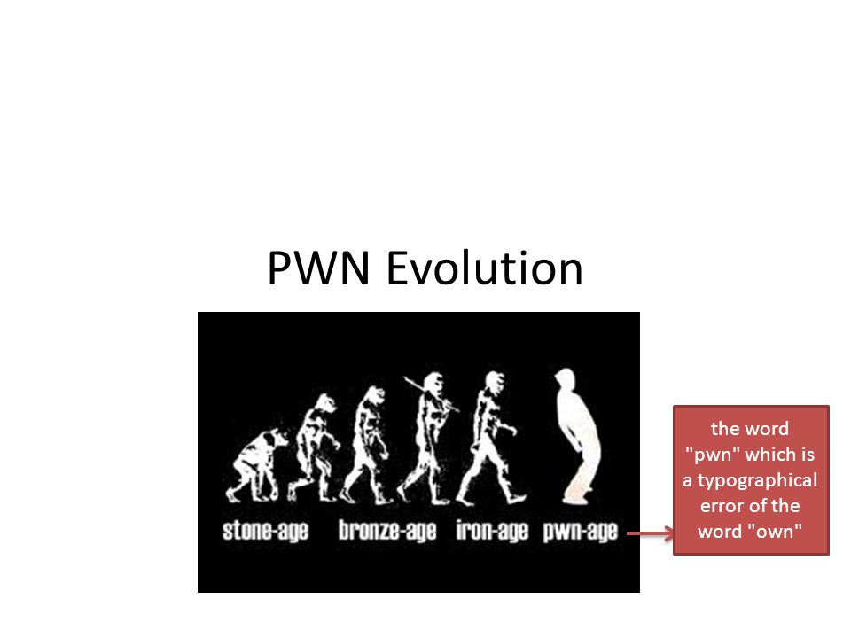 PWN Evolution the word pwn which is a typographical error of the word own