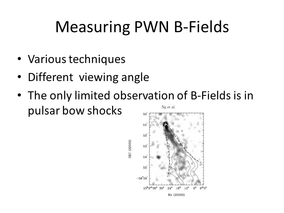 Measuring PWN B-Fields Various techniques Different viewing angle The only limited observation of B-Fields is in pulsar bow shocks