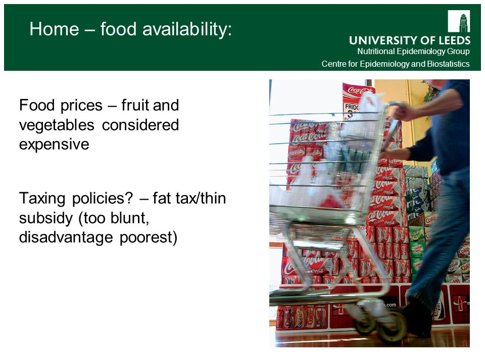 Nutritional Epidemiology Group Centre for Epidemiology and Biostatistics Home – food availability: Food prices – fruit and vegetables considered expensive Taxing policies.