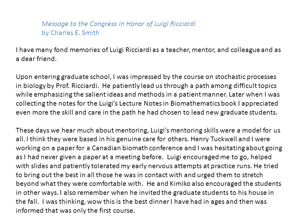 Message to the Congress in Honor of Luigi Ricciardi by Charles E.