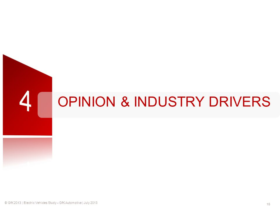 © GfK 2013 | Electric Vehicles Study – GfK Automotive | July 2013 15 OPINION & INDUSTRY DRIVERS
