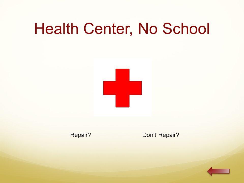 Health Center, No School Repair Don't Repair
