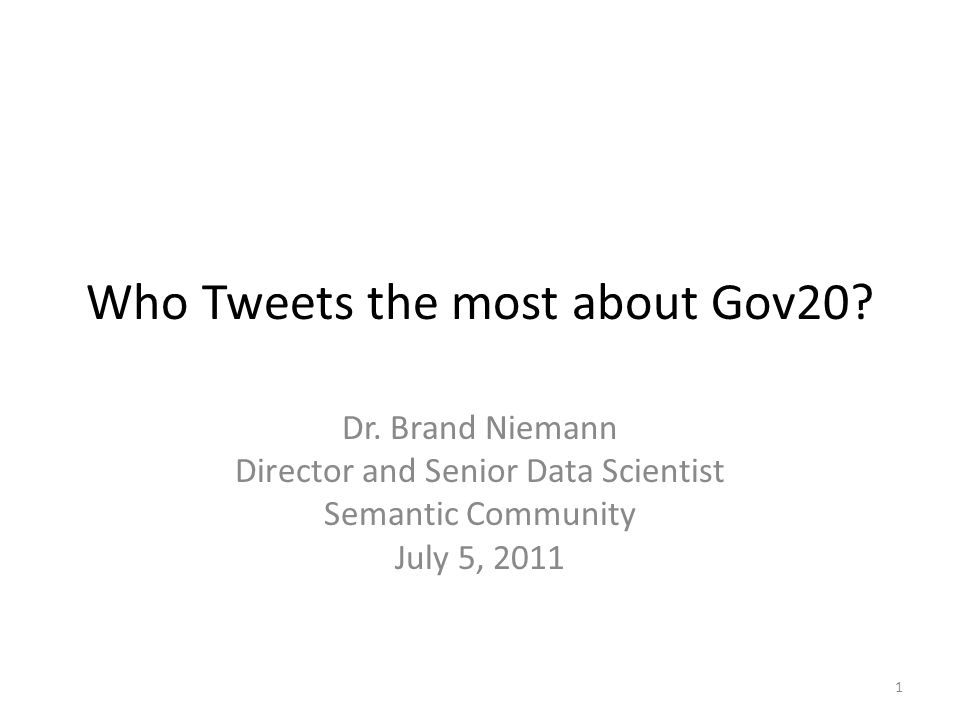 Preface Who Tweets the most about Gov20.