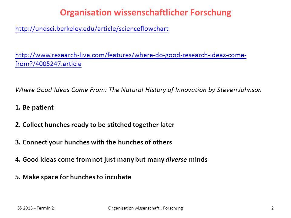 SS 2013 - Termin 23Organisation wissenschaftl.