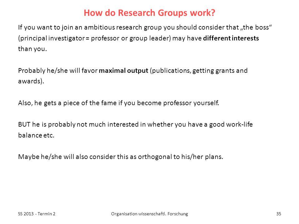 SS 2013 - Termin 235Organisation wissenschaftl. Forschung How do Research Groups work.