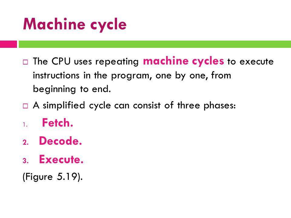 Machine cycle  The CPU uses repeating machine cycles to execute instructions in the program, one by one, from beginning to end.  A simplified cycle