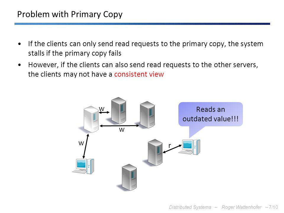 Distributed Systems – Roger Wattenhofer –7/10 Problem with Primary Copy If the clients can only send read requests to the primary copy, the system sta
