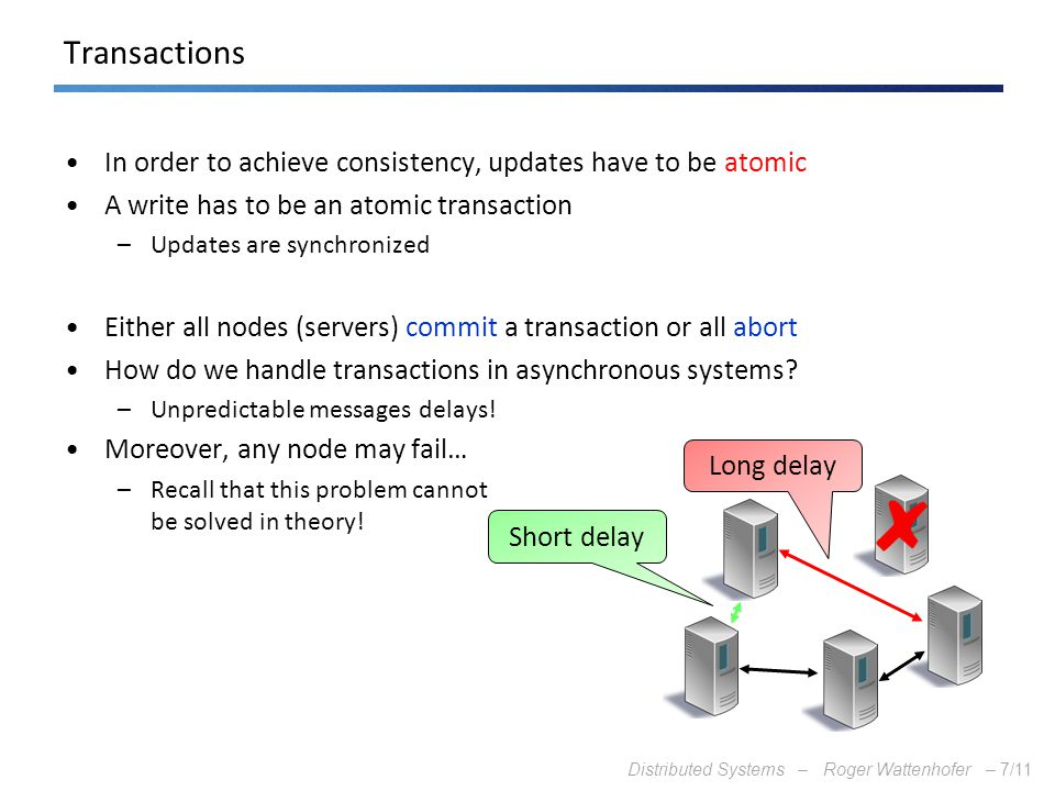 Distributed Systems – Roger Wattenhofer –7/11 Transactions In order to achieve consistency, updates have to be atomic A write has to be an atomic tran