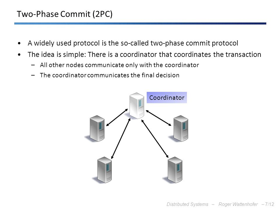 Distributed Systems – Roger Wattenhofer –7/12 Two-Phase Commit (2PC) A widely used protocol is the so-called two-phase commit protocol The idea is sim