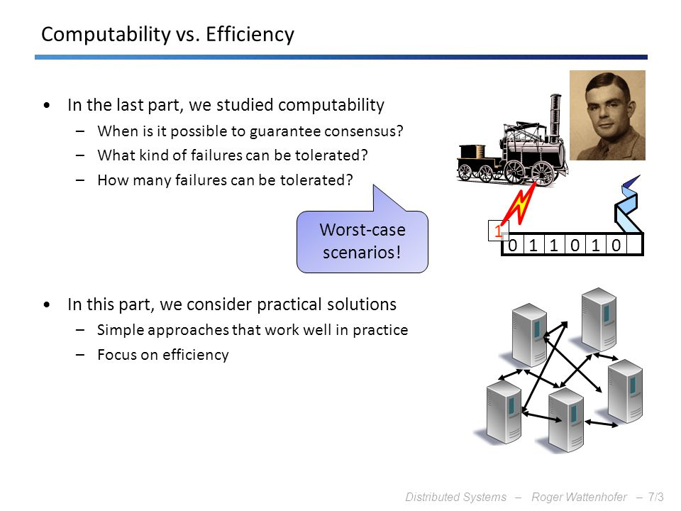 Distributed Systems – Roger Wattenhofer –7/3 Computability vs. Efficiency In the last part, we studied computability –When is it possible to guarantee