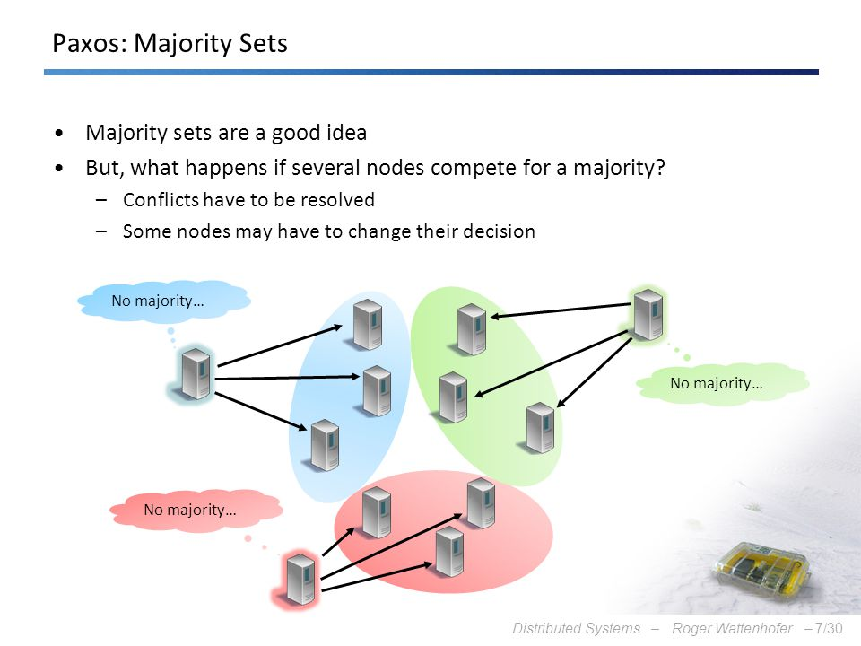 Distributed Systems – Roger Wattenhofer –7/30 Paxos: Majority Sets Majority sets are a good idea But, what happens if several nodes compete for a majo