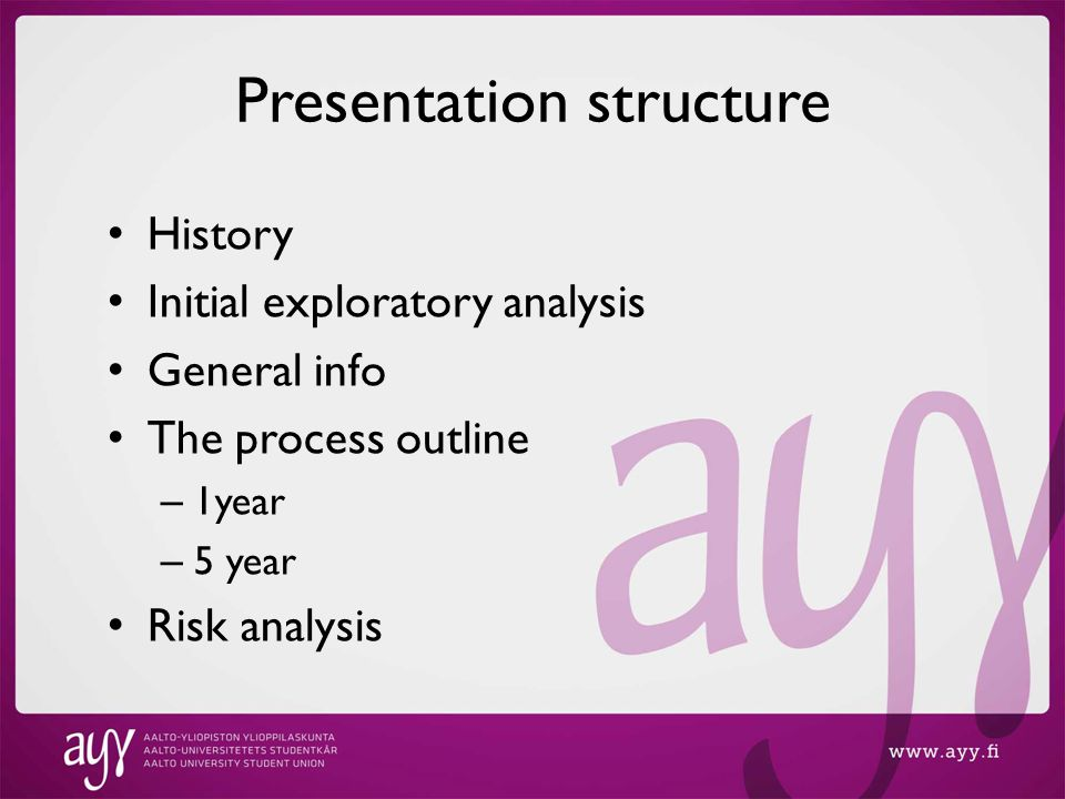 Presentation structure History Initial exploratory analysis General info The process outline – 1year – 5 year Risk analysis