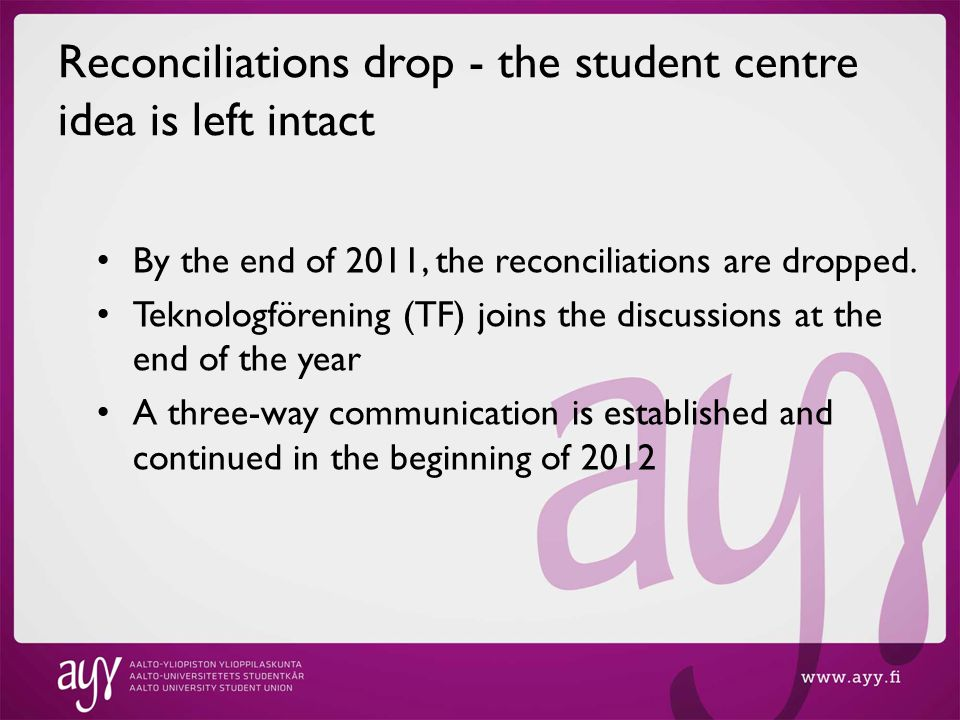 Reconciliations drop - the student centre idea is left intact By the end of 2011, the reconciliations are dropped.