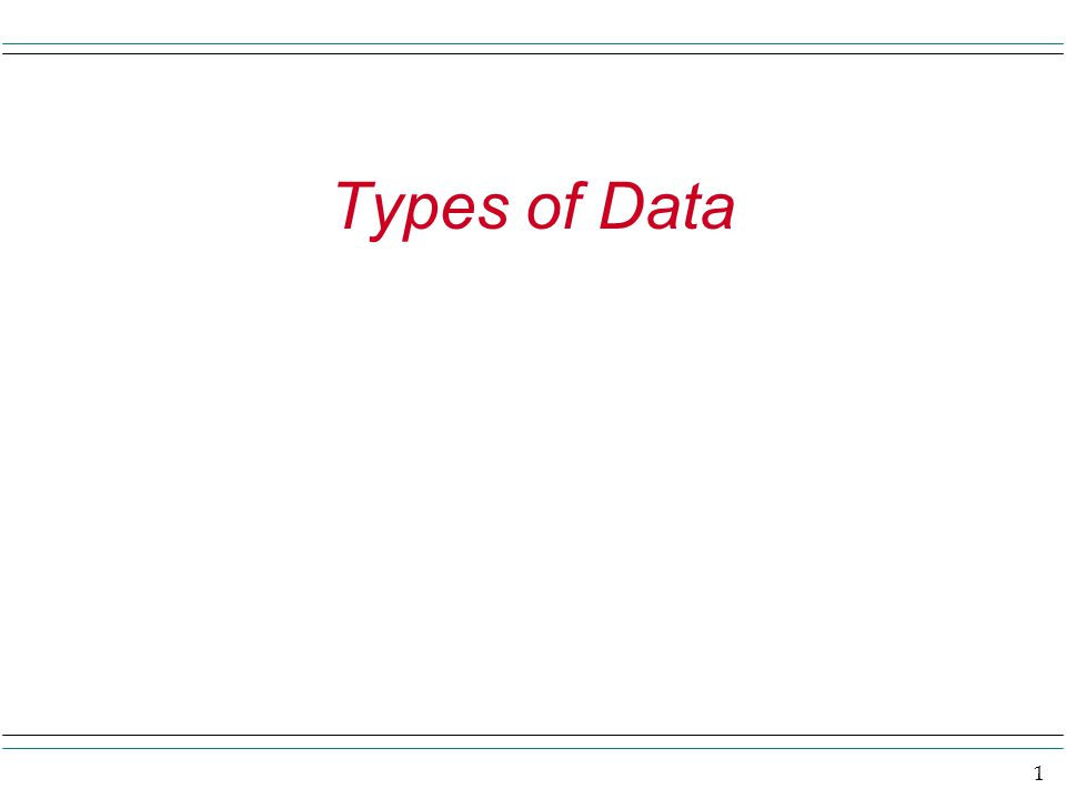 1 Types of Data