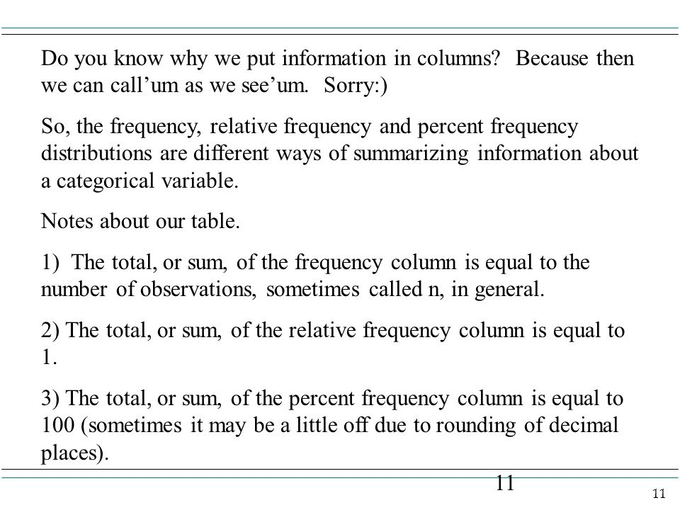 11 Do you know why we put information in columns. Because then we can call'um as we see'um.