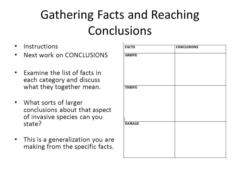 Gathering Facts and Reaching Conclusions Instructions Next work on CONCLUSIONS Examine the list of facts in each category and discuss what they together mean.
