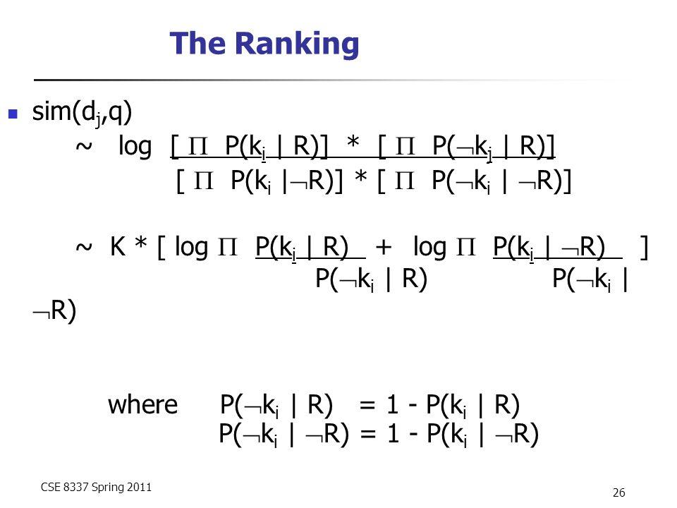 CSE 8337 Spring 2011 26 The Ranking sim(d j,q) ~ log [  P(k i | R)] * [  P(  k j | R)] [  P(k i |  R)] * [  P(  k i |  R)] ~ K * [ log  P(k i | R) + log  P(k i |  R) ] P(  k i | R) P(  k i |  R) where P(  k i | R) = 1 - P(k i | R) P(  k i |  R) = 1 - P(k i |  R)