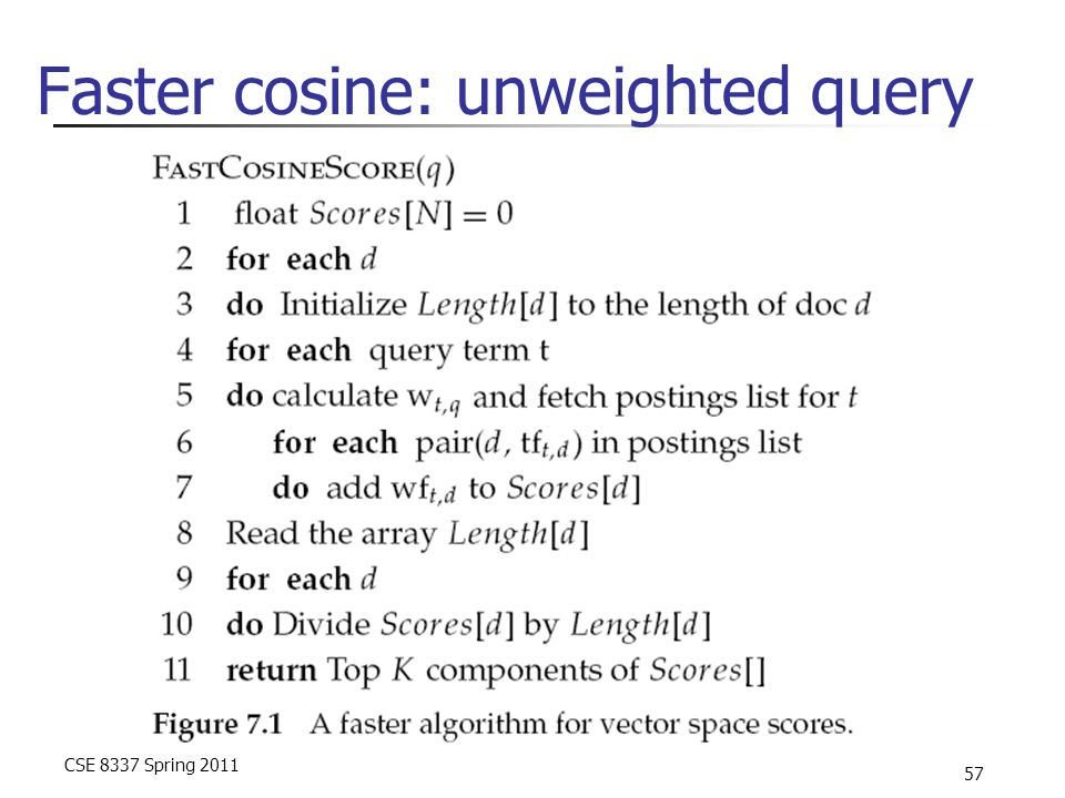 CSE 8337 Spring 2011 57 Faster cosine: unweighted query