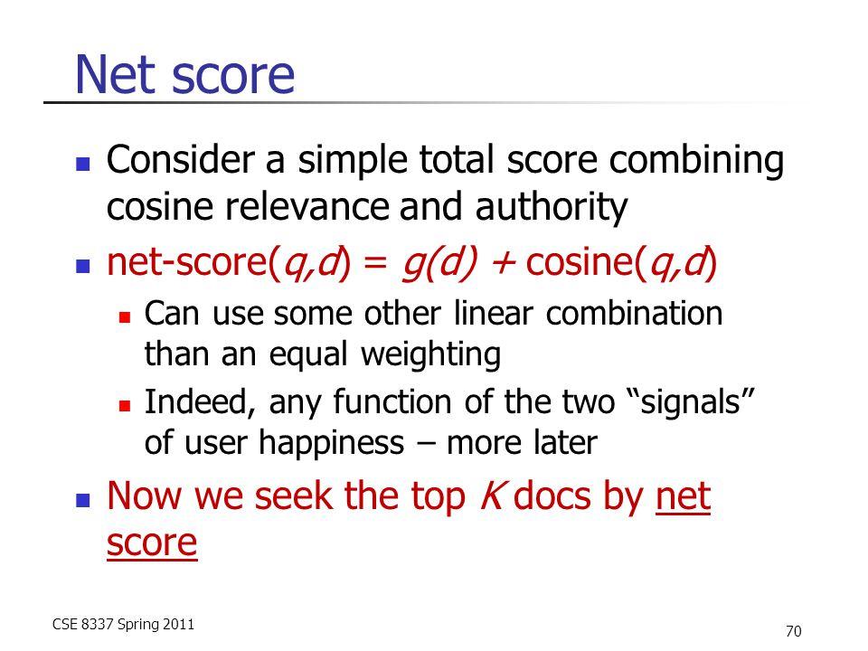 CSE 8337 Spring 2011 70 Net score Consider a simple total score combining cosine relevance and authority net-score(q,d) = g(d) + cosine(q,d) Can use s