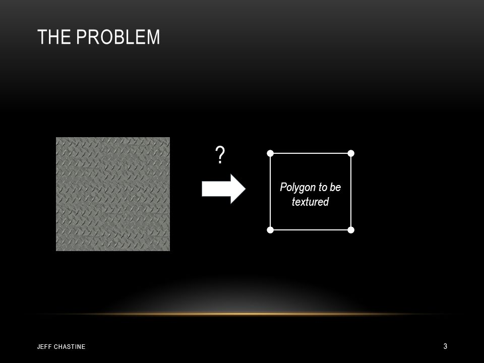 THE PROBLEM (0, 0)(1, 0) (1, 1)(0, 1) (1, 1)(0, 1) (0, 0)(1, 0) Polygon to be textured JEFF CHASTINE 4
