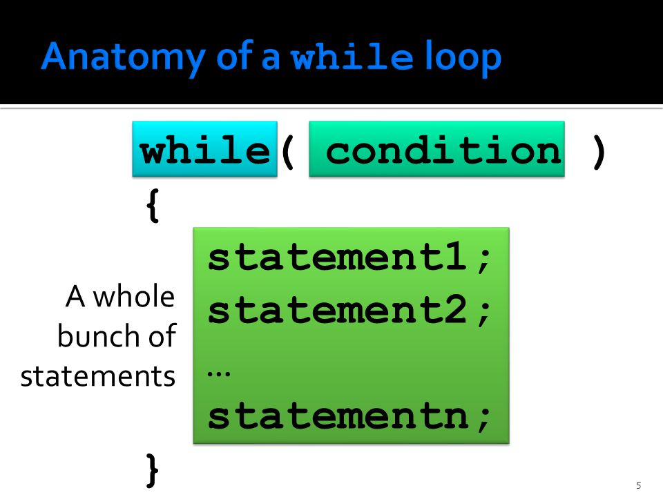 while( condition ) { statement1; statement2; … statementn; } A whole bunch of statements 5