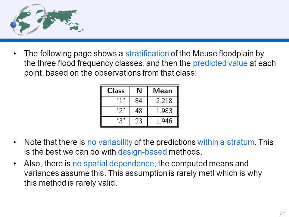The following page shows a stratification of the Meuse floodplain by the three flood frequency classes, and then the predicted value at each point, based on the observations from that class: Note that there is no variability of the predictions within a stratum.