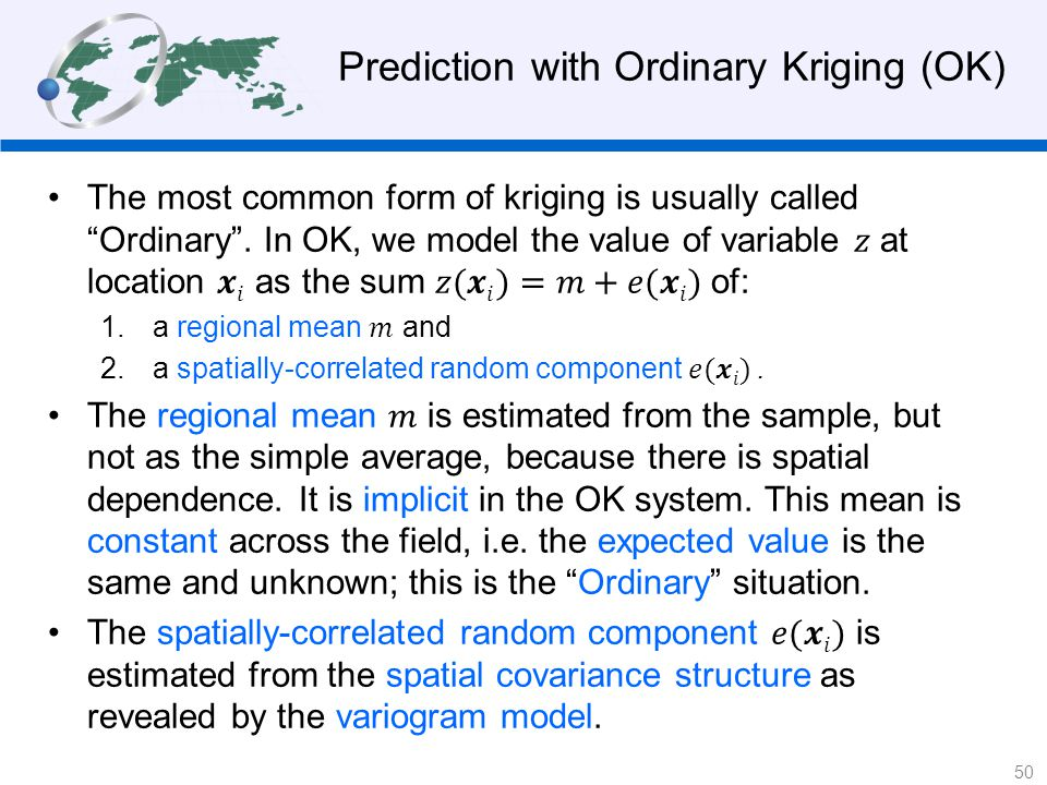 Prediction with Ordinary Kriging (OK) 50