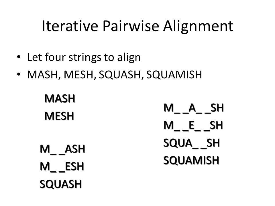 Iterative Pairwise Alignment Let four strings to align MASH, MESH, SQUASH, SQUAMISH MASHMESH M_ _ASH M_ _ESH SQUASH M_ _A_ _SH M_ _E_ _SH SQUA_ _SH SQUAMISH