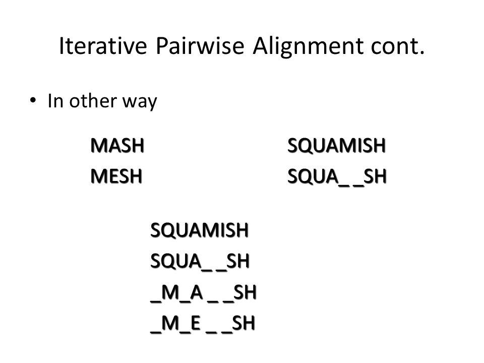 Iterative Pairwise Alignment cont.