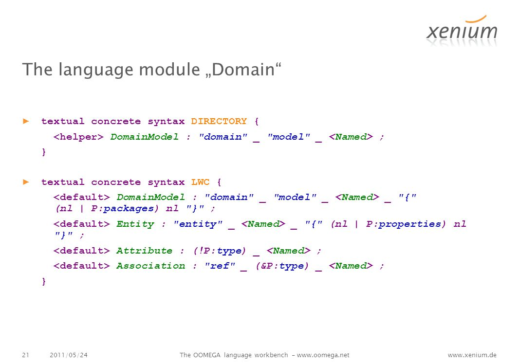"www.xenium.de The language module ""Domain ▶ textual concrete syntax DIRECTORY { DomainModel : domain _ model _ ; } ▶ textual concrete syntax LWC { DomainModel : domain _ model _ _ { (nl 