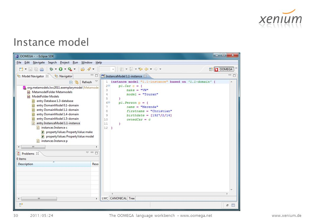 www.xenium.de Instance model 2011/05/24The OOMEGA language workbench - www.oomega.net30