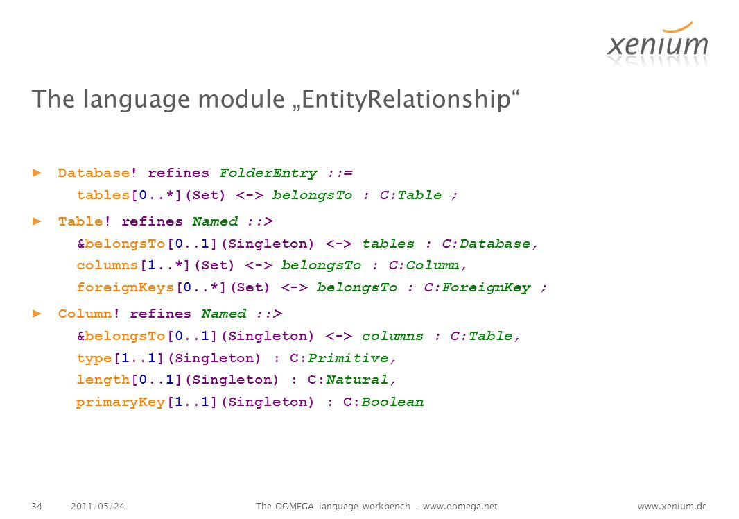 "www.xenium.de The language module ""EntityRelationship ▶ Database."